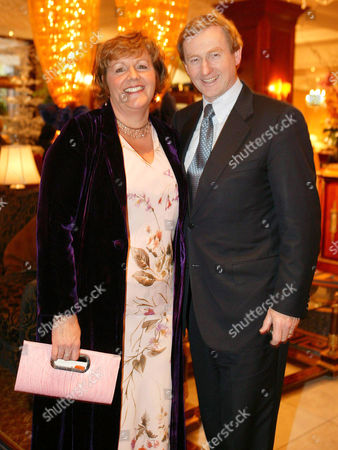Enda Kenny, leader of Fine Gael with his wife Fionnuala O'Kelly at a party fundraising lunch in Dublin, Ireland