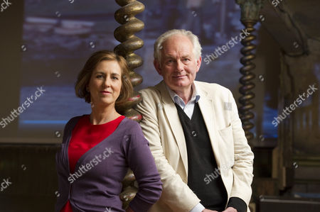 Dan Cruickshank and Kirsty Wark on the set of Diverse Productions production for BBC television show 'Home Movies' at Wilton's Music Hall, London