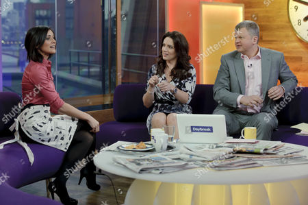 Lucy Verasamy with presenters Grainne Seoige and Adrian Chiles