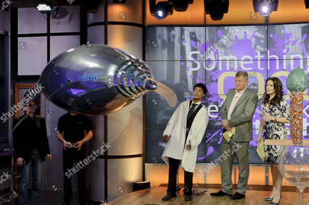 Science boffin Deepesh Patel with presenters Grainne Seoige and Adrian Chiles