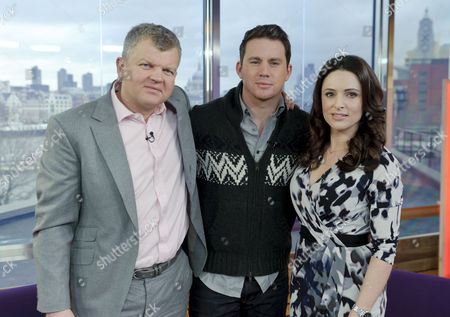 Channing Tatum (centre) with Presenters Grainne Seoige and Adrian Chiles