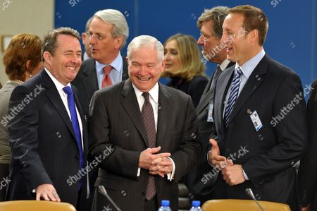 Secretary of State for Defence Liam Fox, Robert Gates and Peter Gordon MacKay