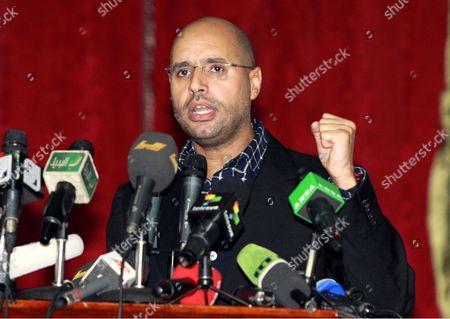 Stock Photo of Libyan leader Muammar Gaddafi's son Saif al-Islam Gaddafi