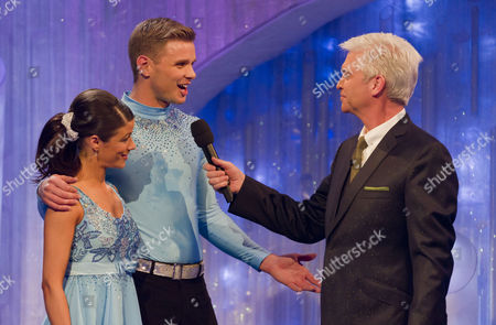 Jeff Brazier and dancing partner Isabelle Gauthier with presenter Phillip Schofield