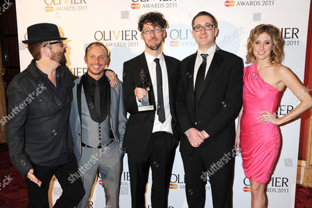 Dave Stewart, with the winners of Best Musical Revival for Into The Woods: Liam Steel, Timothy Sheader, William Village, Caissie Levy