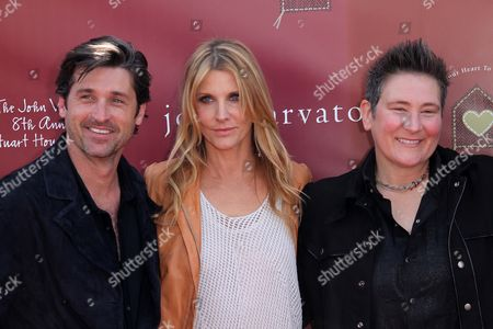 ภาพสต็อกของ Patrick Dempsey and wife Jillian Demspey with KD Lang