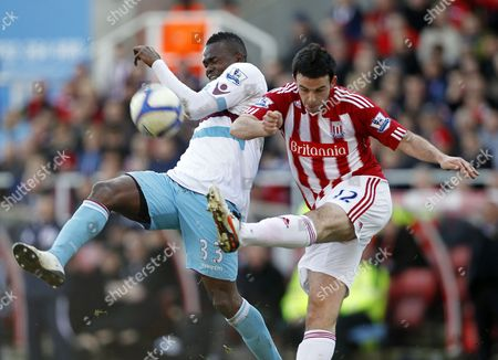 Marc Wilson of Stoke City and Victor Obinna of West Ham United