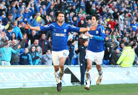 Cardiff defender Dekel Keinan celebrates scoring his goal to make the score 2-1