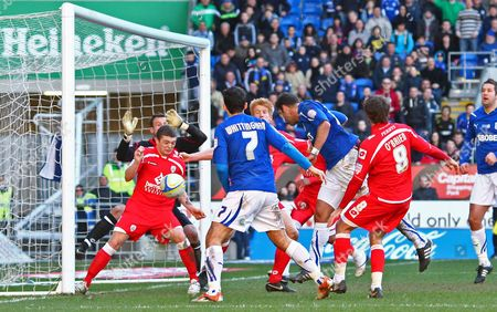 Cardiff defender Dekel Keinan scores a goal to make the score 2-1