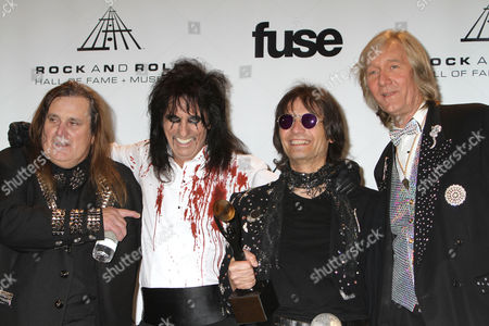 Inductees Michael Bruce, Alice Cooper, Dennis Dunaway and Neal Smith