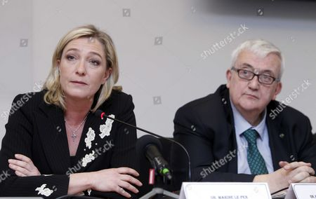 Marine Le Pen, with Mario Borghezio, MEP from Italy's anti-immigration Northern League party