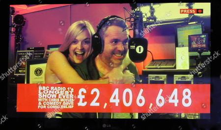 Fearne Cotton and Chris Moyles during the marathon broadcast