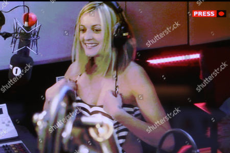Fearne Cotton wearing a swimsuit in the the studio