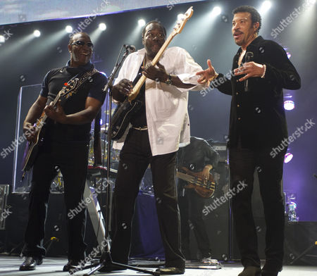 Stock Photo of Lionel Richie (r) with original Commodores band mates Thomas McClary, left, and Ronald La Pread