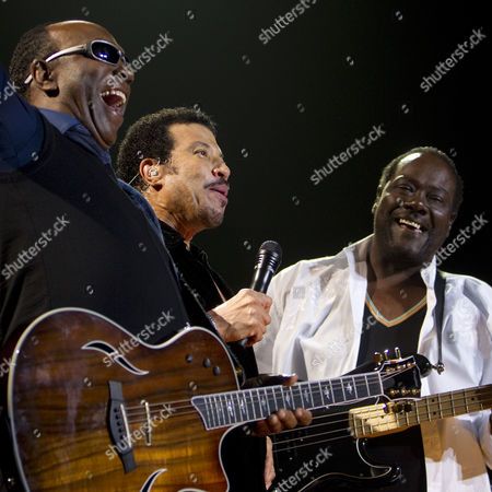Stock Picture of Lionel Richie (c) with original Commodores band mates Thomas McClary, left, and Ronald La Pread