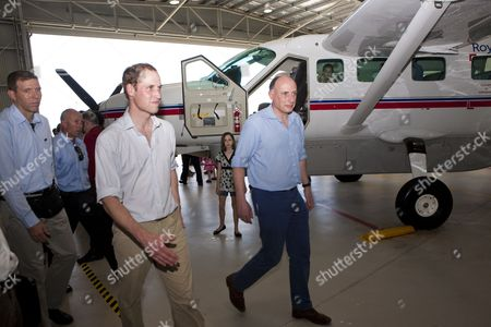 Prince William visiting The Royal Flying Doctor Service at Cairns airport with Jamie Lowther-Pinkerton