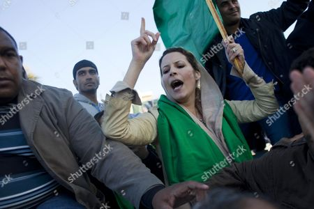 Editorial image of Gaddafi supporters rally to form human shield at Bab al-Azizia, Tripoli, Libya - 20 Mar 2011