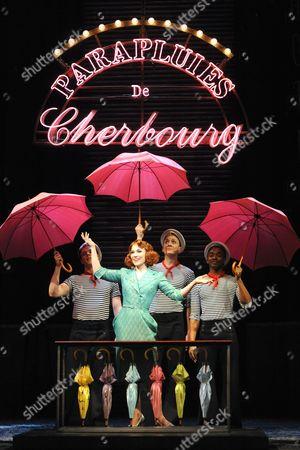 'The Umbrellas of Cherbourg' - Matt Wilman, Joanna Riding (Madame Emery), Gareth Charlton and Aki Omoshaybi