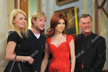 Stock Image of Producer of Dima Bilan, Yana Rudkovskaya, figure skater Evgeni Plushenko, Anna Chapman and president of the Swiss watch company Ulysse Nardin, Rolf Schneider