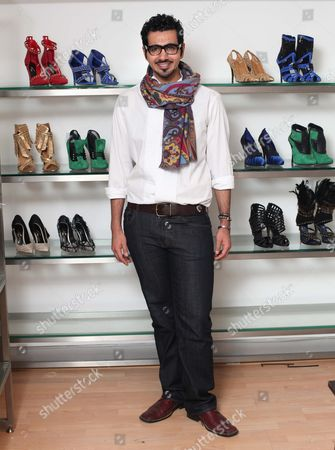 London based Emirati shoe designer, Sultan al Darmaki with some of the shoes from his new collection.