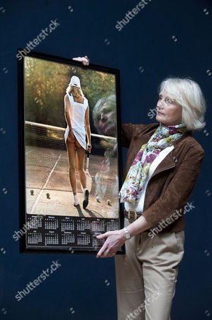 Stock Picture of Fiona Walker with her famous 'cheeky' Athena tennis girl poster