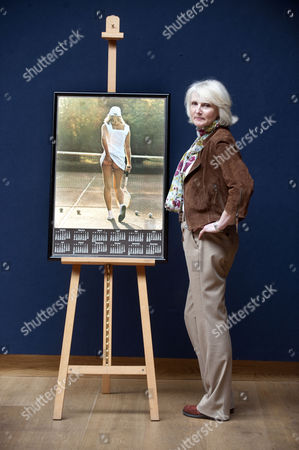 Editorial photo of Athena tennis poster girl Fiona Walker at 'Court on Canvas' exhibition, London, Britain - 21 Mar 2011