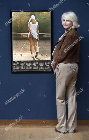 Stock Photo of Fiona Walker with her famous 'cheeky' Athena tennis girl poster