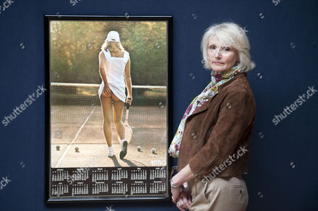 Editorial image of Athena tennis poster girl Fiona Walker at 'Court on Canvas' exhibition, London, Britain - 21 Mar 2011