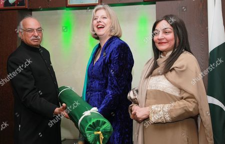 Stock Image of Pakistan High Commissioner, Wajid Shamsul Hasan, Theresa May MP and Begum Wajid Shamsul Hassan