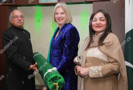 Stock Picture of Pakistan High Commissioner, Wajid Shamsul Hasan, Theresa May MP and Begum Wajid Shamsul Hassan