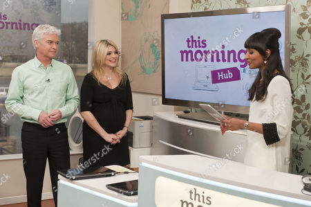 Phillip Schofield and Holly Willoughby with Samanthi in the hub