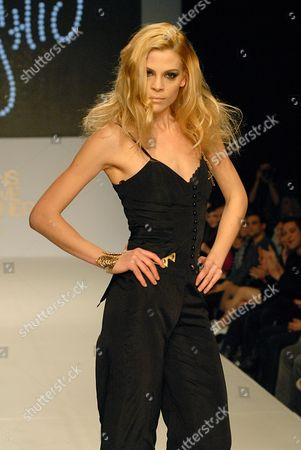 Model on the runway during the Indashio show