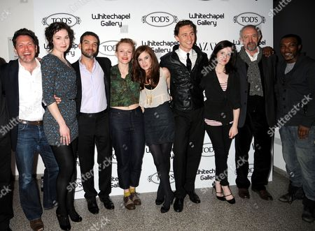 (from third left) Jake Maskall, Juliet Oldfield, Tom Hiddleston, Maxine Peake, Claire Foy, Jonathan Pryce and Ashley Walters