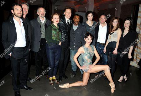 Jake Maskall, guest, Jonathan Pryce, Maxine Peake, Tom Hiddleston, Ashley Walters, Marta Romagna (front), Helen Bradbury, Hywel Morgan, Juliet Oldfield and Claire Foy