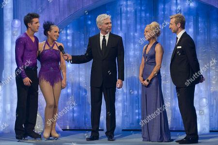 Laura Hamilton with Dancing partner Colin Ratushniak, presenters, Phillip Schofield, Jayne Torvill and Christopher Dean