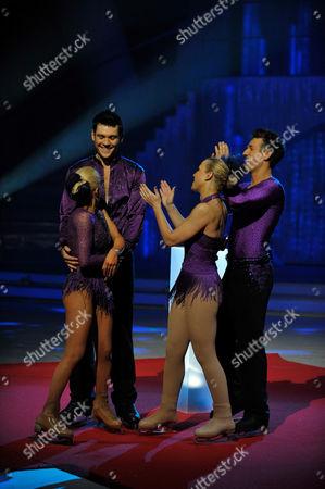 Sam Attwater with Dancing partner Brianne Delcourt.   Laura Hamilton with Dancing partner Colin Ratushniak