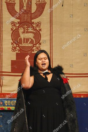 Stock Image of New Zealand singer Waimatao Temo singing the Maori karanga