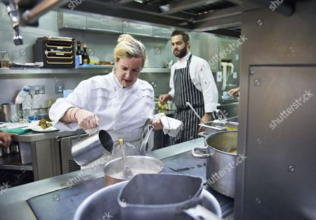 Helene Darroze, chef, in the kitchen of the Connaught, London, Britain