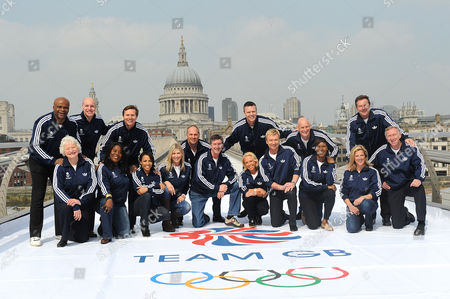 L-R: Kriss Akabusi, Dame Mary Peters, Adrian Moorhouse, Tessa Sanderson, Roger Black, Dame Kelly Holmes, Sharron Davies, Sir Steve Redgrave, Robin Cousins, Jayne Torvill, Steve Backley, Christopher Dean, Duncan Goodhew, Denise Lewis, Sally Gunnell, Lynn Davis and David Hemery