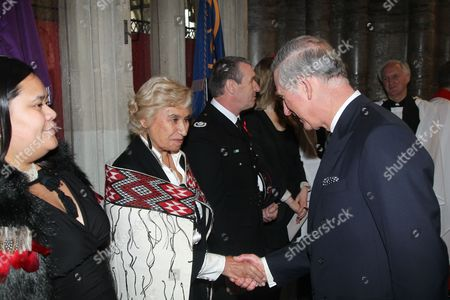 Stock Photo of Prince Charles meets various people following the service inc. Waimatao Temo (l)