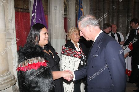 Stock Photo of Prince Charles meets Waimatao Temo following the service.