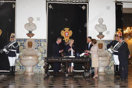 Prince Charles, Camilla Duchess of Cornwall, Anibal Cavaco Silva and Maria Alves da Silva