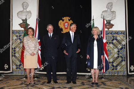 Stock Picture of Maria Alves da Silva, Prince Charles, Anibal Cavaco Silva and Camilla Duchess of Cornwall
