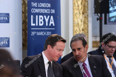 Prime Minister David Cameron with Sheikh Hamad bin Jassim bin Jaber Al Thani, Prime Minister and Minister of Foreign Affairs for the State of Qatar