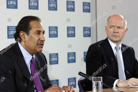 Foreign Secretary William Hague with Sheikh Hamad bin Jassim bin Jaber Al Thani, Prime Minister and Minister of Foreign Affairs for the State of Qatar