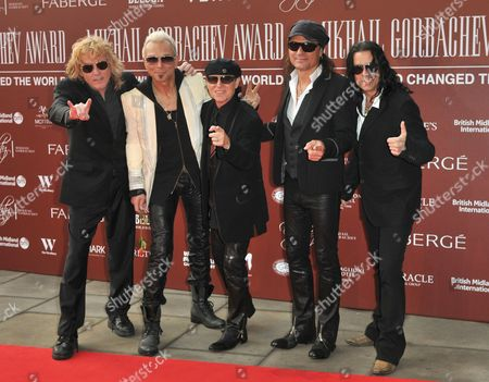 (L to R) James Kottak, Rudolf Schenker, Klaus Meine, Matthias Jabs and Pawel Maciwoda of The Scorpions