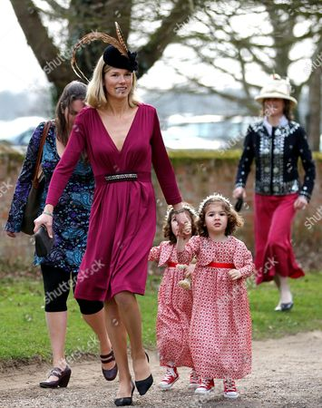 Stock Image of Davina Duckworth-Chad and her twins India Honor and Siena Beatrice