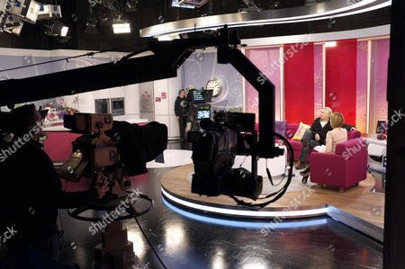 Stock Photo of Dennis Lawson and Kate Garraway, studio, set, camera.