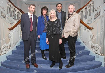 Stock Picture of The Poetry Society Hold An Evening For The Ted Hughes Awards For New Works In Poetry. L-r Ian Pindar Ruth Padel Helen Dunmore Daljit Nagra And John Stammers. Picture By: Nigel Howard Mobile + 44 (0) 7831 235235 Email: Nrhpixatyahoo.com