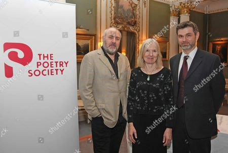 The Poetry Society Hold An Evening For The Ted Hughes Awards For New Works In Poetry. L-r John Stammers Helen Dunmore And Ian Pindar. Picture By: Nigel Howard Mobile + 44 (0) 7831 235235 Email: Nrhpixatyahoo.com